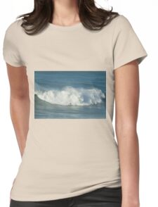 Pro Surfer on XXL waves at Nazare Portugal Womens Fitted T-Shirt