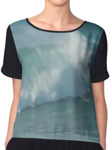 Pro Surfer on XXL waves at Nazare Portugal Chiffon Top