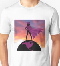 Superwoman in pink pussy hat conquering the world. T-Shirt