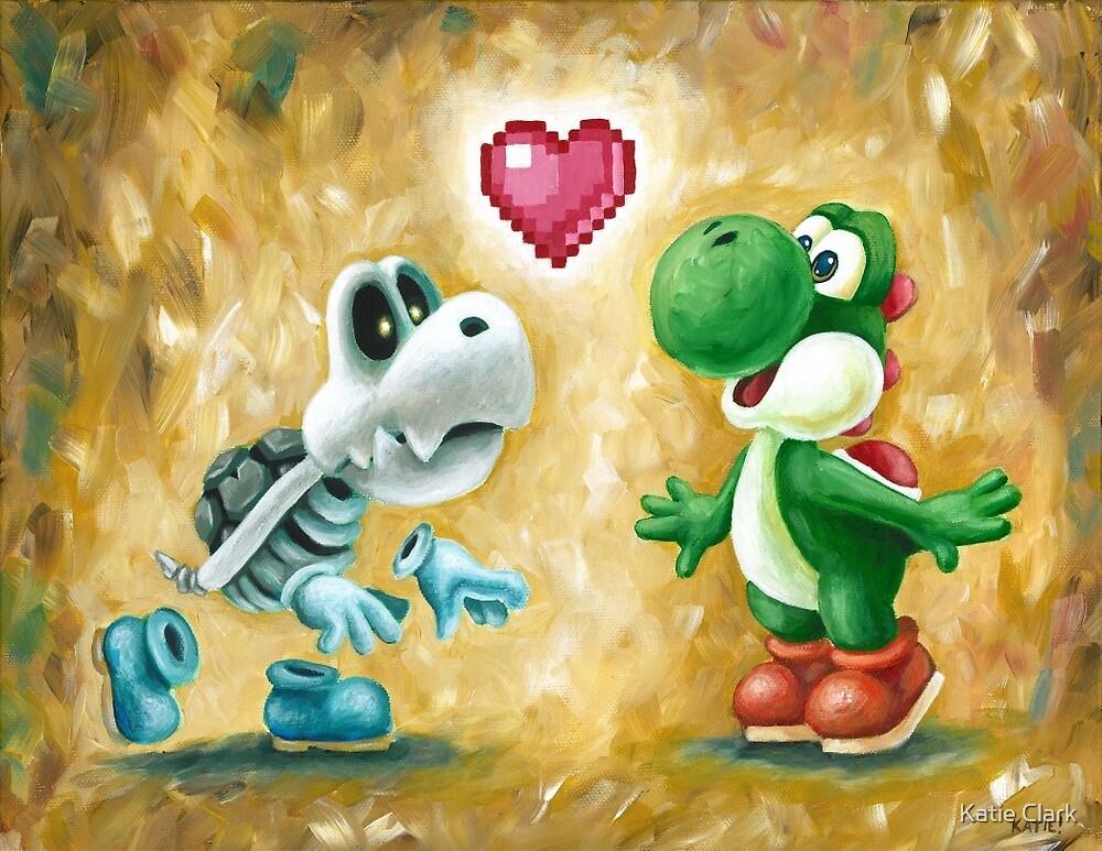 Yoshi Loves Dry Bones! Yoshi Art, Dry Bones Art, Video Game Art by Katie Clark