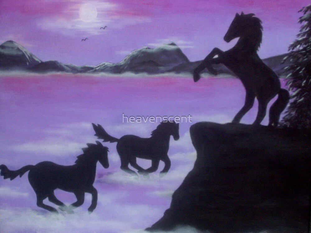 horses in silhouettes by heavenscent