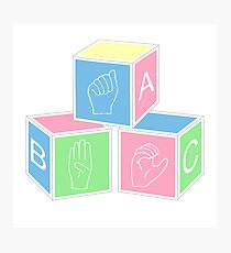 ABC's Baby Blocks in Sign Language Photographic Print