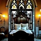 Magnificent bed and window at Lyndhurst Castle by Jane Neill-Hancock