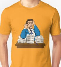 Stressed Man at Work in Pop Art Style with a Bunch of Paper Documents Unisex T-Shirt