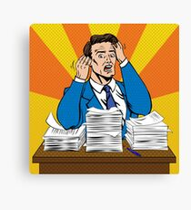 Stressed Man at Work in Pop Art Style with a Bunch of Paper Documents Canvas Print