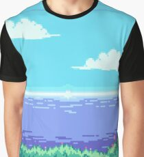 Pixel Art Sea View Graphic T-Shirt
