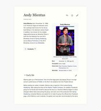 Andy Mientus Wikipedia Art Print