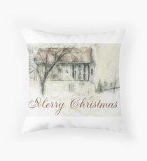 Rural Barn Christmas Scene Throw Pillow