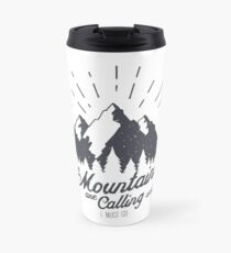 The Mountains are Calling Ski Snowboard Hiking Mountaineering Travel Mug