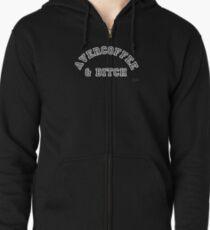 AVERCOFFEE & BITCH: White logo Zipped Hoodie
