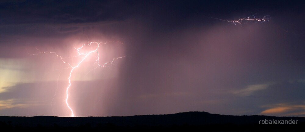 Lightning at Sunset. by robalexander