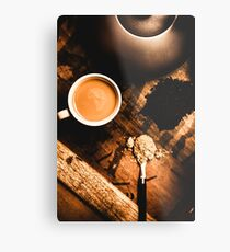 Cup Of Tea With Ingredients And Kettle On Wooden Table Metal Print