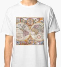 Vintage Antique Old World Map cartography Classic T-Shirt