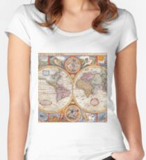 Vintage Antique Old World Map cartography Women's Fitted Scoop T-Shirt