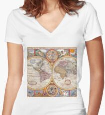 Vintage Antique Old World Map cartography Women's Fitted V-Neck T-Shirt