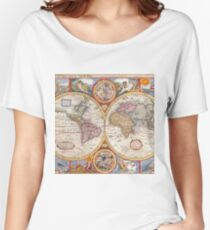 Vintage Antique Old World Map cartography Women's Relaxed Fit T-Shirt