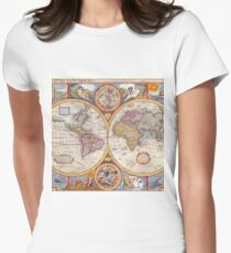 Vintage Antique Old World Map cartography Womens Fitted T-Shirt