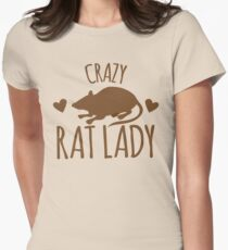 CRAZY RAT LADY Womens Fitted T-Shirt