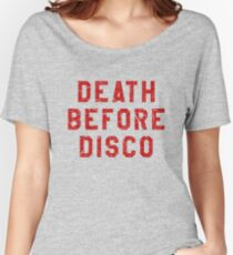 DEATH BEFORE DISCO (STRIPES) Women's Relaxed Fit T-Shirt