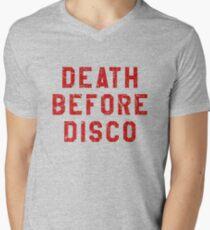 DEATH BEFORE DISCO (STRIPES) Men's V-Neck T-Shirt