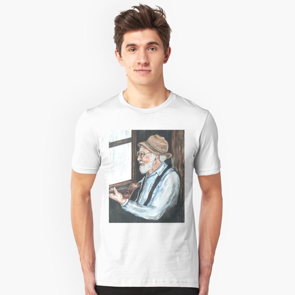 old man and guitar by rainy window Unisex T-Shirt Front