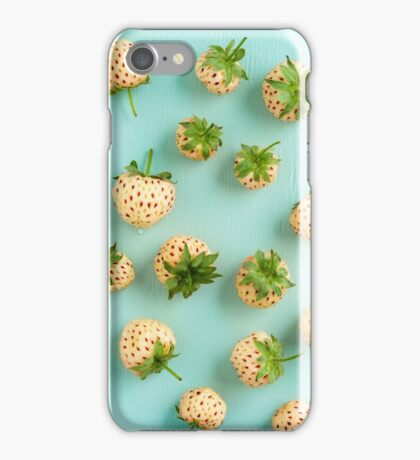 Fresh pineberries on turquoise iPhone Case/Skin