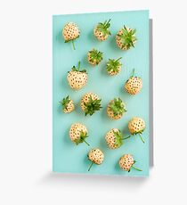 Fresh pineberries on turquoise Greeting Card