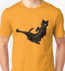 Cute black karate cat fighting Unisex T-Shirt