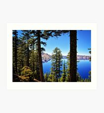 Forest Crater Lake Oregon PNW Travel Blue Lake Cascadia Trees - Digital Wall Art Tapestries Art Print