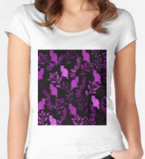 Watercolor Floral and Cat II Women's Fitted Scoop T-Shirt