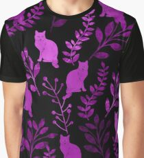 Watercolor Floral and Cat II Graphic T-Shirt