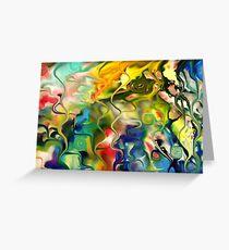 abstract art, blue, green, red, black, dark, Greeting Card