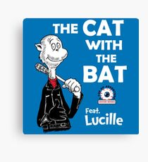 The Cat With The Bat Canvas Print