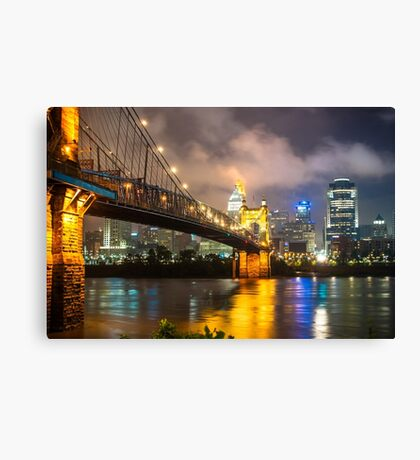 Clouds over the Cincinnati Skyline - Night Cityscape Canvas Print