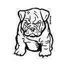 Bulldog Puppy Lover Black and White Line Art by sketchNkustom