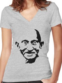 mahatma gandhi Women's Fitted V-Neck T-Shirt