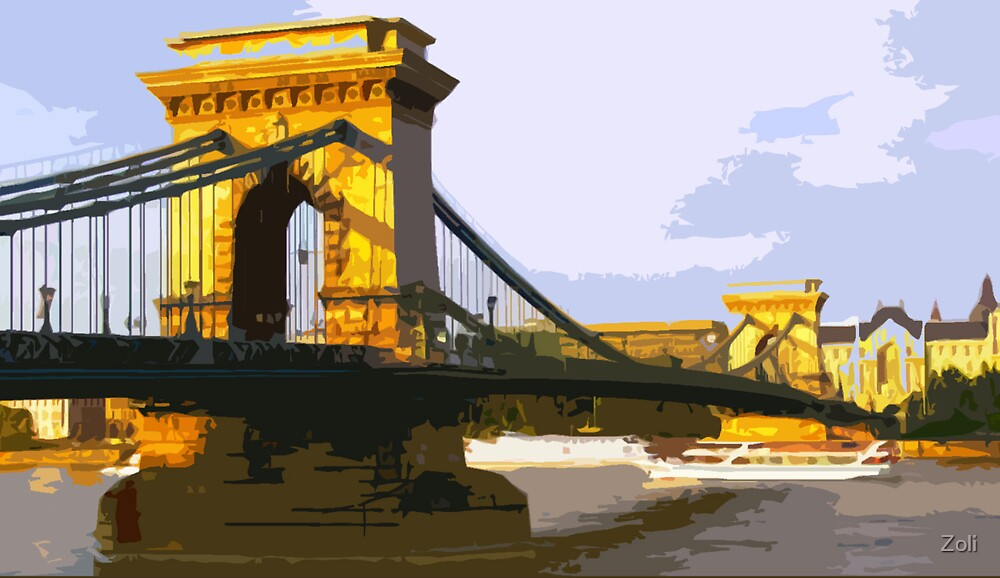 the Szechenyi Chain Bridge, Budapest, Hungary by Zoli