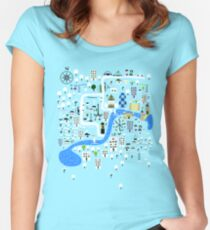 Cartoon Map of London Women's Fitted Scoop T-Shirt