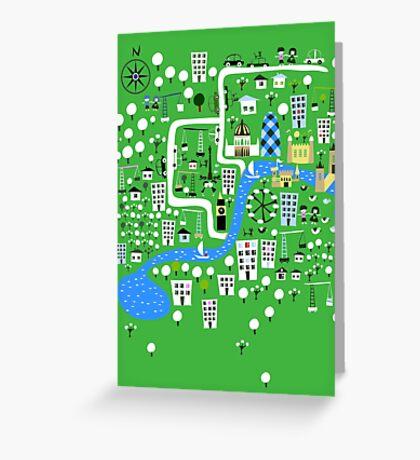 Cartoon Map of London Greeting Card