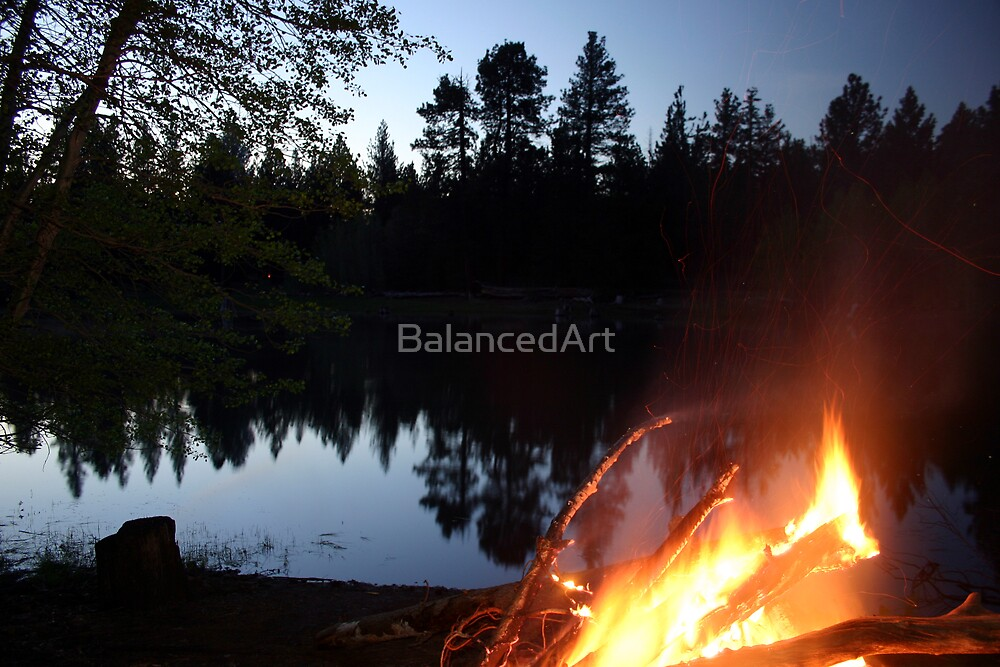 Lakeside camp fire by BalancedArt