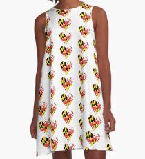 Maryland Flag Heart Shape A-Line Dress