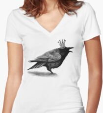 Crow in crown Women's Fitted V-Neck T-Shirt