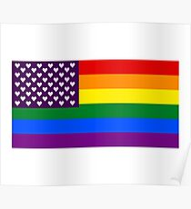Pride Flag - Hearts Poster