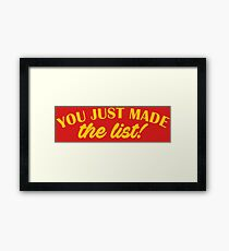 Chris Jericho - You Just Made The List Framed Print