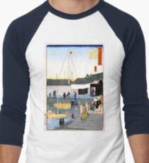 Hiroshige The Akashi Bridge in Teppōzu Men's Baseball ¾ T-Shirt