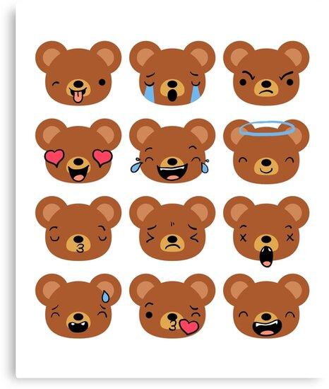 bear emojis emoticons cute faces canvas prints by totalitydesigns