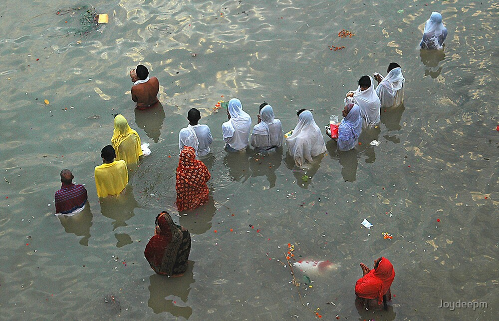 Puja at Holly Ganges  by Joydeepm