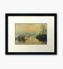 Claude Monet - Sun Setting Over The Seine At Lavacourt. Winter Effect 1880 Framed Print