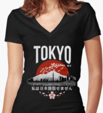 Tokyo - 'I don't speak Japanese': White Version Women's Fitted V-Neck T-Shirt