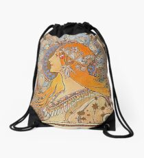 Alphonse Mucha,Zodiac,Art nouveau,vintage,reproduction Drawstring Bag